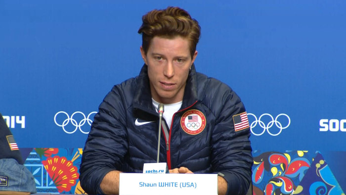 Shaun White, pictured in a press conference in Sochi, has announced he will not compete in slopestyle.