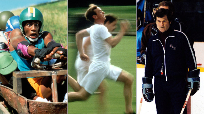 "Scenes from the movies ""Cool Runnings,"" ""Chariots of Fire"" and ""Miracle."""