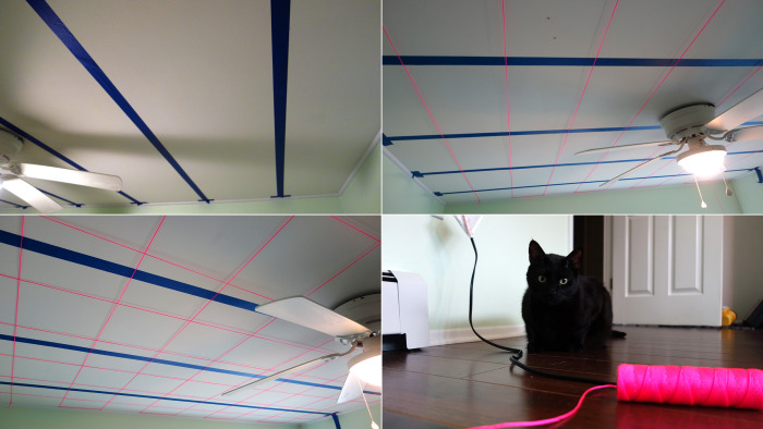 Starting out, Brian used painters tape to mark where the beams were in the ceiling (so he wouldn't drill there), and then stapled landscaping string to create a one-foot by one-foot grid. Boo, the kitten, didn't enjoy the process.