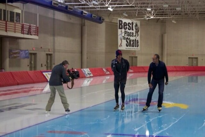 Lester exploring his own need for speed with Olympic champion speed skater Shani Davis.
