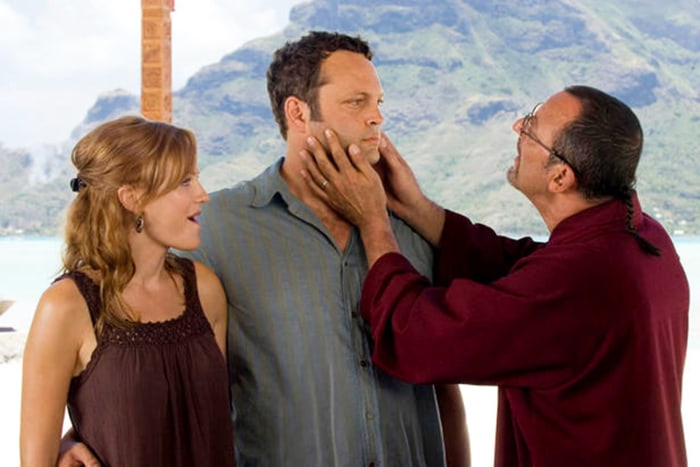"Malin Akerman, Vince Vaughn and Jean Reno in ""Couples Retreat."""