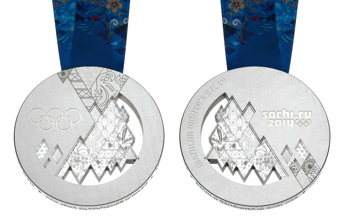 Silver medal for the Sochi 2014 Winter Olympics.