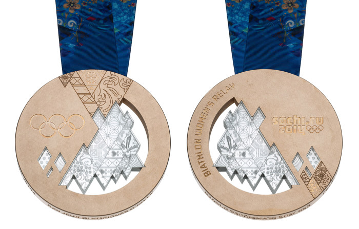 The bronze medal design for the Sochi 2014 Winter Olympics.