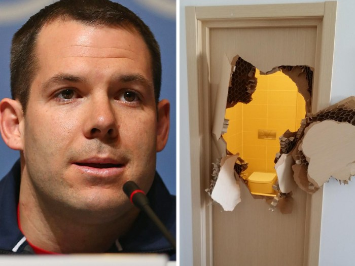 Johnny Quinn of the U.S. bobsleigh team and a picture he tweeted of a busted bathroom door