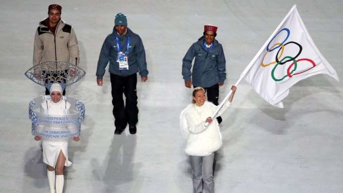 epa04060650 Indian athletes starting as Independent Olympic Participants enter the stadium during the Opening Ceremony of the Sochi 2014 Olympic Games...