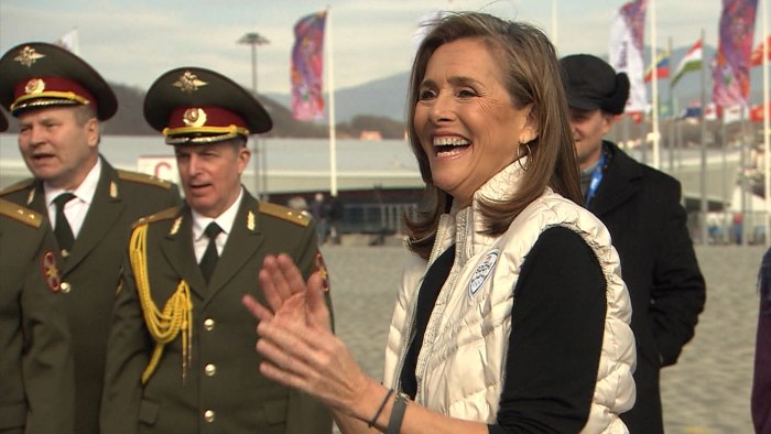 Meredith Vieira dances to the Russian Police Choir performances.