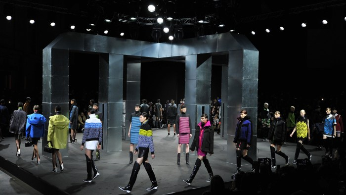 Models wear designs by Alexander Wang during the Mercedes Benz Fall/Winter 2014 Fashion Shows February 8, 2014 in New York. AFP PHOTO/Stan HondaSTAN H...