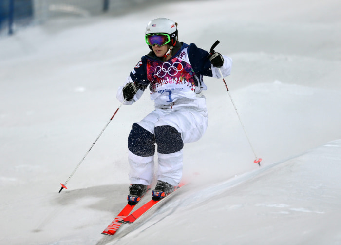 Look at her go! Hannah Kearney competes in moguls for Team USA.