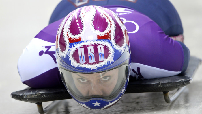 US Noelle Pikus-Pace takes part in a women Skeleton official training at the Sanki Sliding Center in Rosa Khutor during the Sochi Winter Olympics on F...