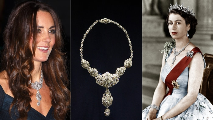 Duchess Kate and Queen Elizabeth II wearing diamond necklace