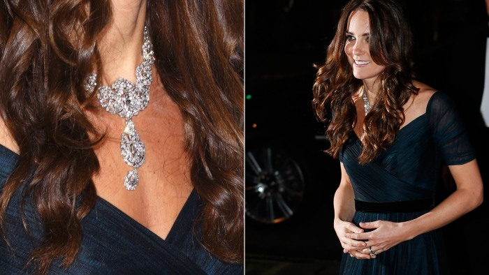 Catherine, Duchess of Cambridge, wears the queen's Nizam of Hyderabad diamond necklace on Tuesday night.