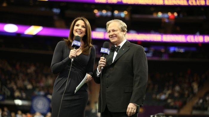 """THE WESTMINSTER KENNEL CLUB DOG SHOW -- """"The 138th Annual Westminster Kennel Club Dog Show"""" -- Pictured: (l-r) Hosts Erica Hill, David Frei at Madison..."""