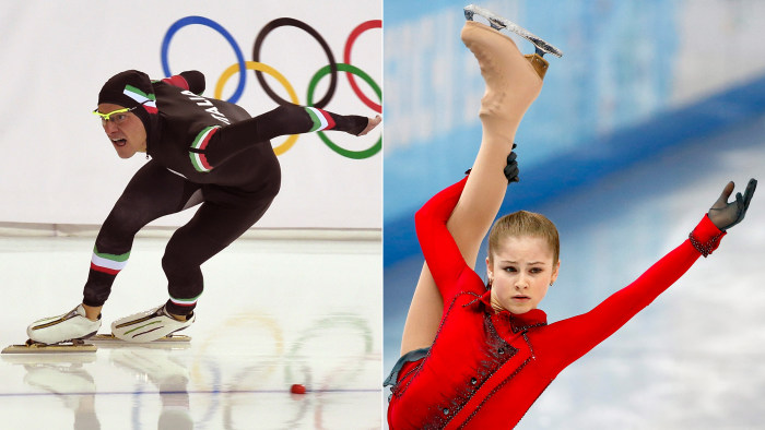 Italy's Mirko Nenzi, left, competes in the the men's speed skating 1000 m on Feb. 12; Russia's Yulia Lipnitskaya, right, performs during the women's free skating of the figure-skating team event on Feb. 9.