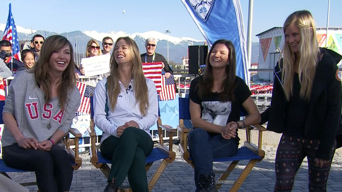 Kaitlyn Farrington, Australian Torah Bright, and Kelly Clark are joined by Hannah Teeter on the Sochi plaza.