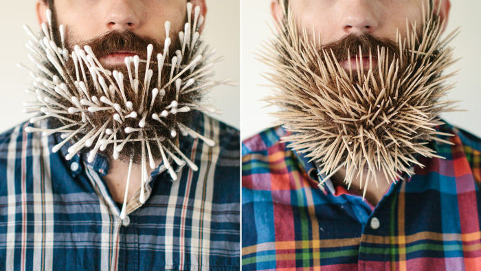 The tumblr Will It Beard features shots of Pierce Thiot and the many things his beard can hold.