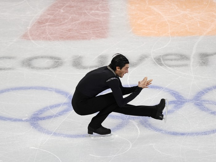 Evan Lysacek of the US performs in the men's 2010 Winter Olympics figure skating free program at the Pacific Coliseum in Vancouver, on February 18, 20...