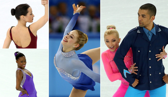 Various female figure skaters with sleek bun hairstyles at the 2014 Olympics.