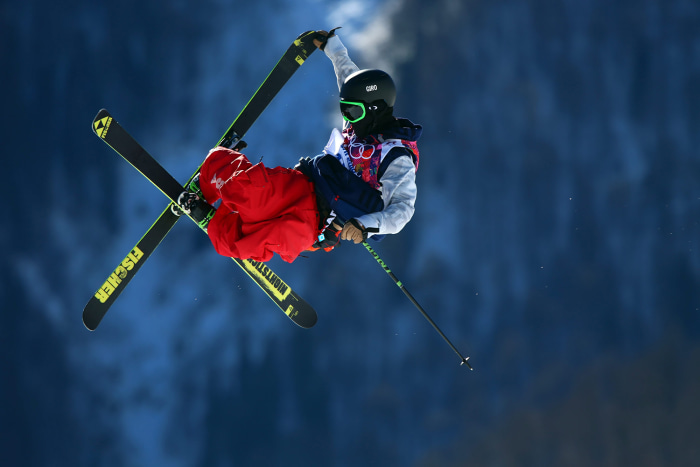 epa04073566 Joss Christensen of USA in action during the Men's Freestyle Skiing Slopestyle qualification in the Rosa Khutor Extreme Park at the Sochi ...