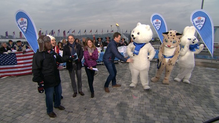 Willie Geist ran some interference for Natalie Morales after the Olympic bear mascot got a little too close for comfort.