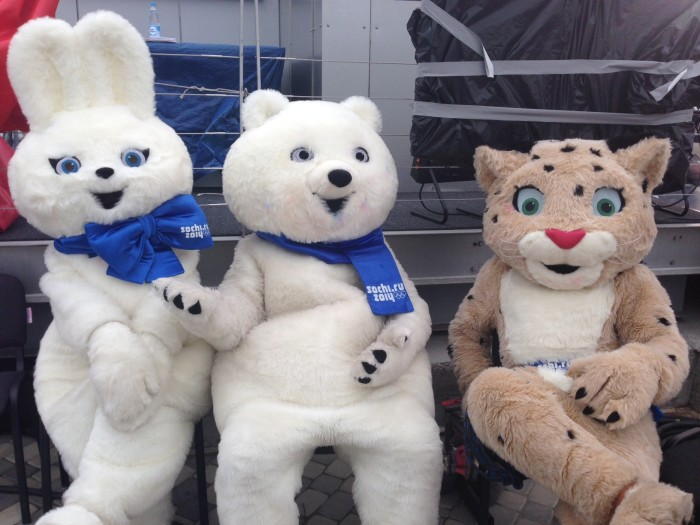 The three Sochi mascots greeted guests and snapped photos backstage at TODAY on Monday when they weren't catching a much-needed break.