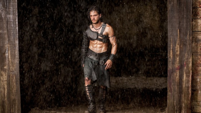"Milo (Kit Harington) in a gladiator ring in ""Pompeii."""
