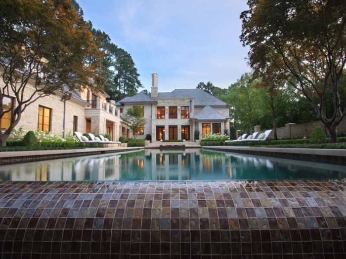 Justin Bieber was recently seen house hunting at this Atlanta property, which includes a 70-foot pool, seven bedrooms and 13 bathrooms.