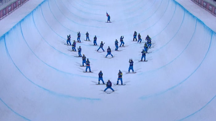 Skiers paid tribute to the late Sarah Burke on the ice Thursday.