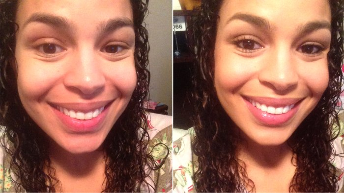 Jordin Sparks without and with make-up.