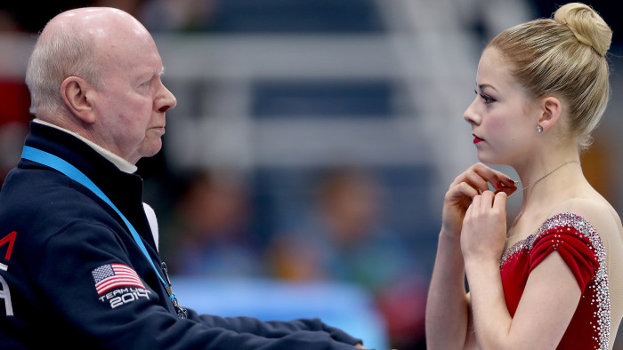 Coach Frank Carroll with figure skater Gracie Gold