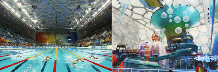Beijing's Water Cube in action during the 2008 Games (left) and as it is now, re-imagined as a water park.