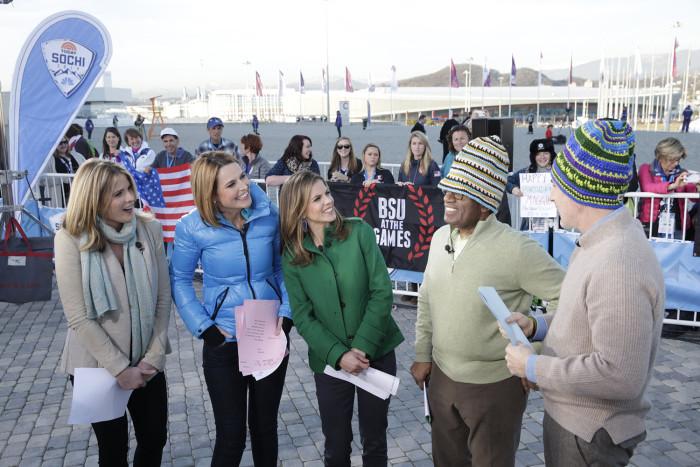 TODAY -- Pictured: (l-r) Jenna Bush Hager, Savannah Guthrie, Natalie Morales, Al Roker, Matt Lauer -- (Photo by: Joe Scarnici/NBC)