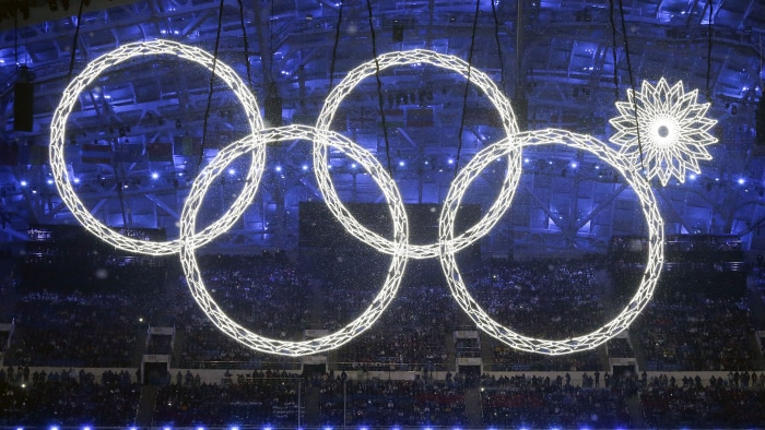 One of the rings forming the Olympic Rings fails to open during the opening ceremony of the 2014 Winter Olympics in Sochi, Russia, Friday, Feb. 7, 201...