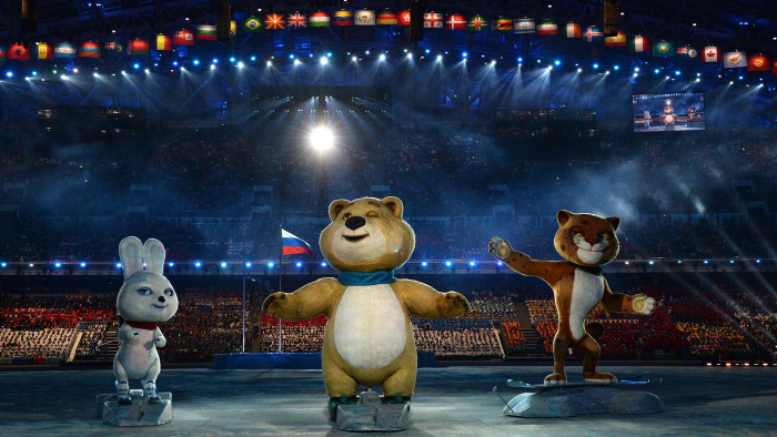The Sochi Winter Olympic games official mascots, the Leopard, the Polar Bear, and the Hare,  perform during the Opening Ceremony of the Sochi Winter O...