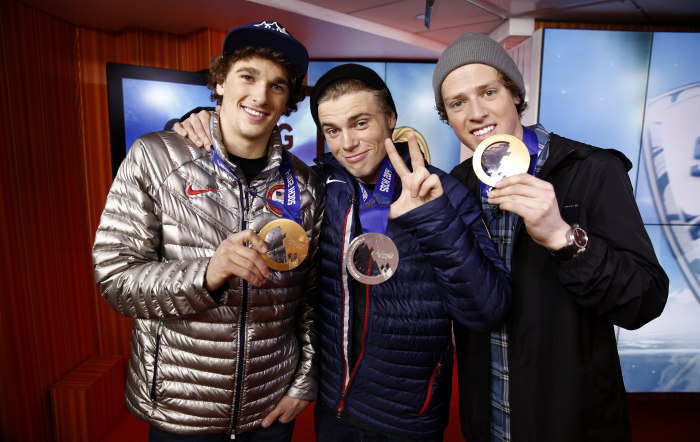 U.S. slopestyle skiers Nick Goepper, Gus Kenworthy and Joss Christensen visited TODAY on Thursday.