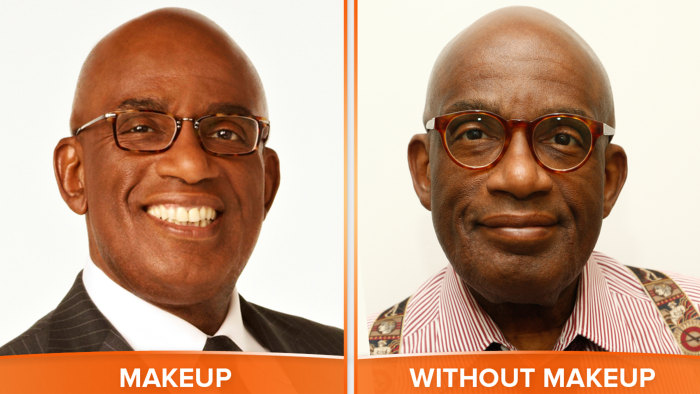 Al with and without makeup.
