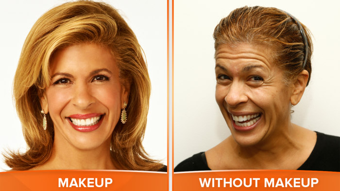 Hoda with and without makeup.