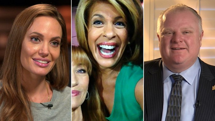 "Angelina Jolie finds inspiration in her neighbor, Hoda smiles for a selfie and Rob Ford is ""moving on."""