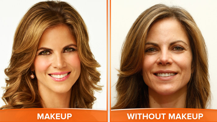 Natalie with and without makeup