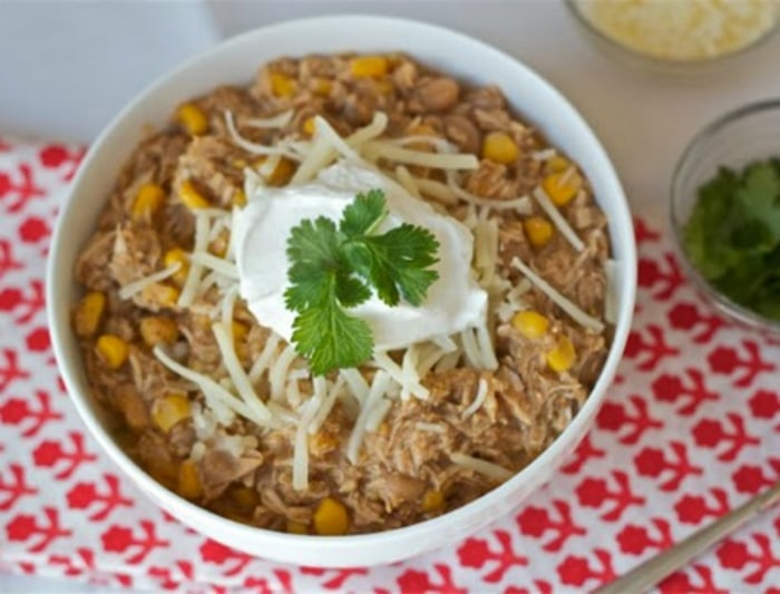 Crock Pot White Bean Chili with Chicken and Corn