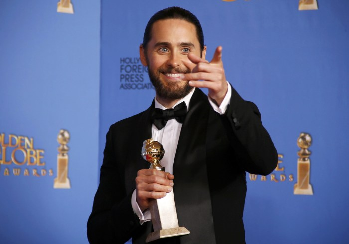 "Jared Leto poses backstage with his award for Best Supporting Actor in a Motion Picture for his role in ""The Dallas Buyers Club"" at the 71st annual Go..."