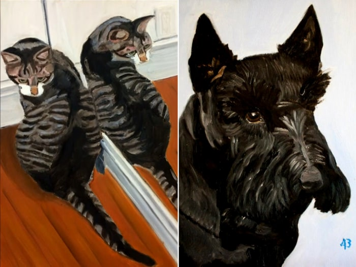 Bush has previously shown works he has done of the family dog and a stray cat that his family adopted.