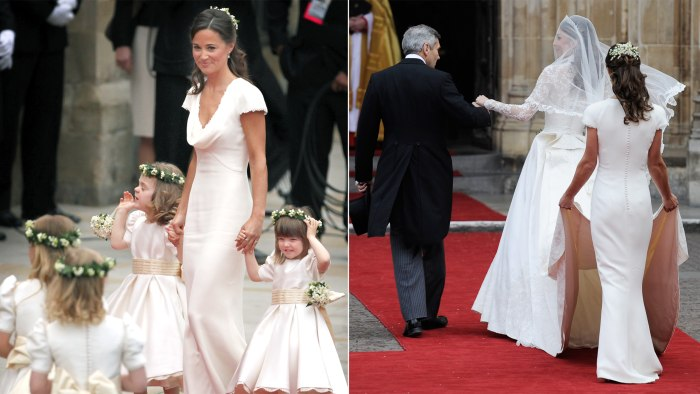 Pippa Middleton arrives with the brides maids and page boys at Westminster Abbey for the Royal Wedding of Prince William to Catherine Middleton at Wes...