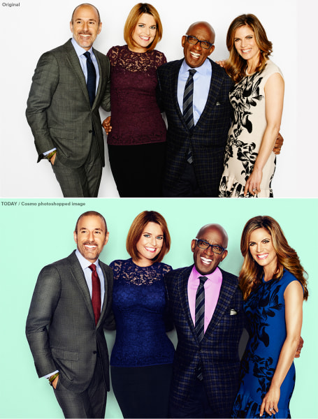 TODAY anchors before and after Photoshopping.