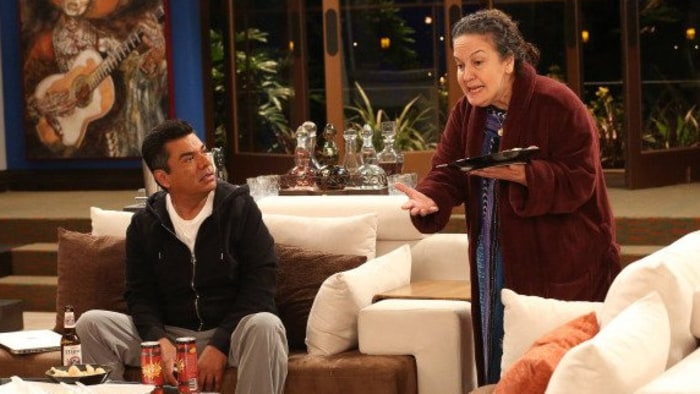 "A scene from the first episode of ""Saint George"" starring   George Lopez as George and Olga Merediz as Alma, his mother."