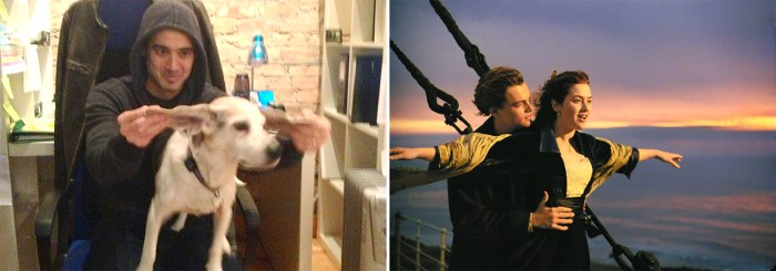 "Chris Naka and Wrigley the dog recreate a famous scene from ""Titanic."""