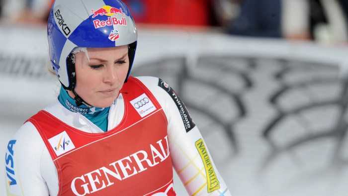 Lindsey Vonn, of the United States, is seen at the finish area after failing to complete a women's Alpine Ski World Cup downhill race, in Val d'Isere,...