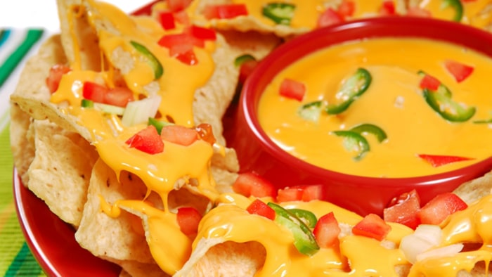 Plate of freshly made hot and spicy nachos