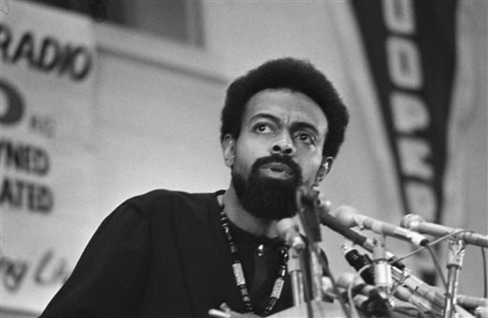 FILE - This March 12, 1972 file photo shows poet and social activist Amiri Baraka speaking during the Black Political Convention in Gary, Ind.  Baraka...