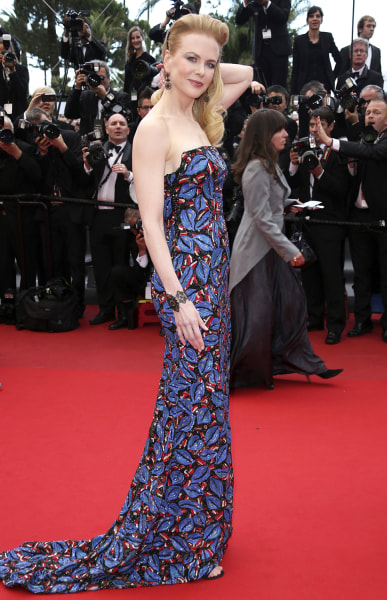 """FILE - In this May 19, 2013 file photo, actress and jury member Nicole Kidman wears an embroidered L'Wren Scott dress for the screening of the film """"I..."""