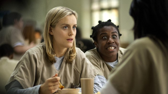 "This image released by Netflix shows Taylor Schilling, left, and Uzo Aduba in a scene from ""Orange is the New Black.""  Revealing secret endings and pl..."
